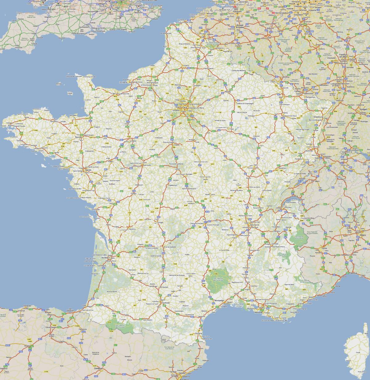 Karta Cesta S Naplatom Cestarine U Francuskoj Francuska Karta